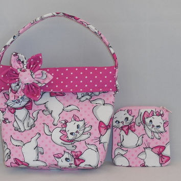 Little Girls' Purse and Matching Coin Purse Made With Aristocats Marie Inspired Fabric
