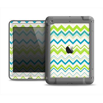 The Green & Blue Leveled Chevron Pattern Apple iPad Air LifeProof Fre Case Skin Set
