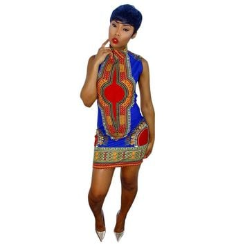 2017 New Summer plus size African Print Dashiki dress for women dresses africa clothing traditional Ladies dress fashion designs