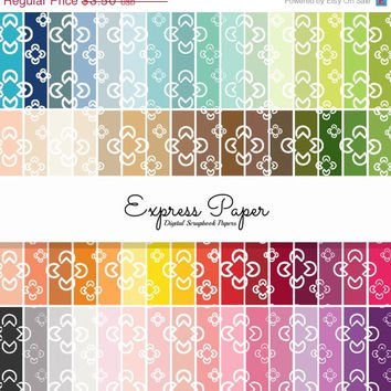 SALE 64 geometric flower pattern digital papers- 12x12 and 8.5x11 included- Digital Paper Rainbow includes dark, bright, neutral and pastel