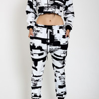Black & White Brush Print Jogger Set with Crop Jacket Top