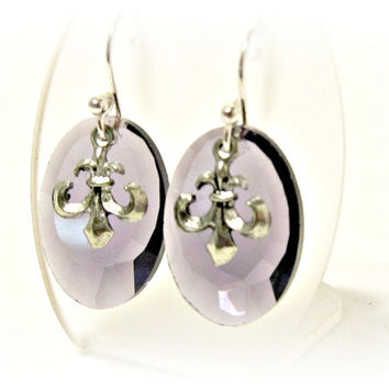 Purple Faceted Glass Oval Drop Earrings with Tibetan Silver Fleur-De-Lis