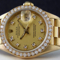 ROLEX - 26mm 18kt Gold Ladies President Champagne DIAMOND Dial 69138 SANT BLANC