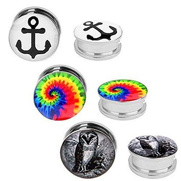 Screw Fit Anchor Owl Tie Dye Plugs Kit Stainless Steel Plugs 2G-00G - 6 Pack