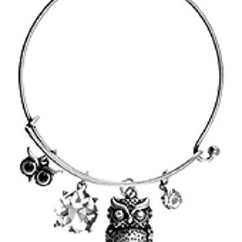 Womens Jewelry, Owl, Silver Tone Metal Hook Bangle w/ Assorted Accents Crystal Accent Imitation Pearl Accent Rhinestone Accent OWL Silver Tone Metal Hook Bangle Assorted Accents - Materials: Metal - Length: Diameter: 2.5 Inch
