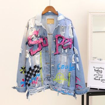 2018 Spring Autumn Women New Letters Painting Graffiti Loose Holes Denim Jacket Coat Girl Students Ripped Jeans Jackets Outwear
