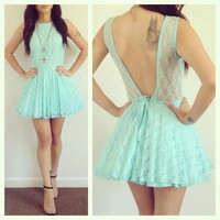 Lace Homecoming Dress, Mini Mint Green Backless Short Prom Dress