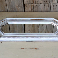 White Distressed Shabby Chic Long Octagon Mirror