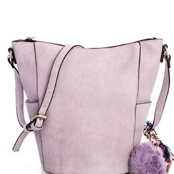 Cute Hot Trendy Bucket Bag with Pompom