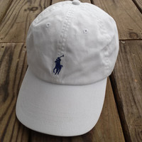 Polo ralph lauren white Leather strapback Hat Cap