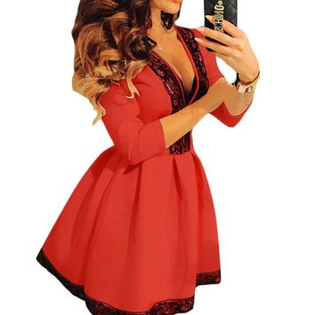 Lace Trim V Neck Sleeved Red Skater Dress