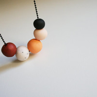 Peach shade necklace Soft matte colors Cool necklace Geometric round beads