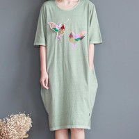 Soft comfortable cotton short sleeved dress loose long T-shirt