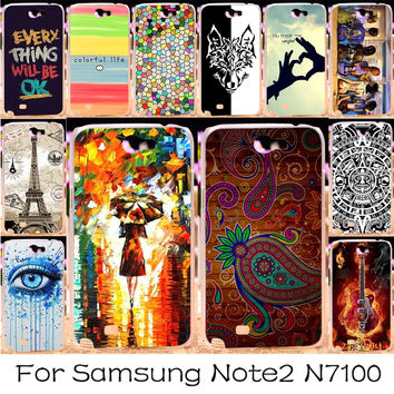 Spider-Man Blue And White Bohemia Painting Hard phone case cover For Samsung Galaxy Note II Note 2 N7100 5.5 inch Note2 7100