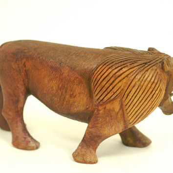 Lion Figurine Vintage Carved Wood