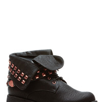 Rose Stud Black Lace Up Faux Leather Fold Over Boots