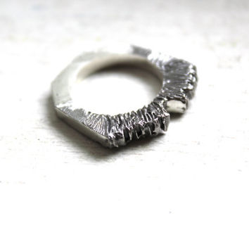Edgy Textured Ring Recycled Sterling Silver Ring Triangle Ring Modern Jewelry