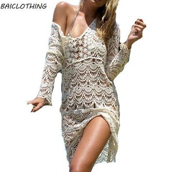 PEAPGC3 2017 Newest Sexy Deep V Beach Cover up Crochet Hollow Swimwear Dress Ladies Bathing Suit Cover ups Beach Tunic Saida de Praia