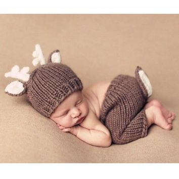 Brown deer two sets baby clothes velvet knitting photography props Newborn Crochet Outfit Photography Prop Newborn Prop
