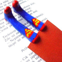 Superhero socks bookmark- Superman socks bookmark- Superman- Movie hero for kids- Gift for kids, childrens- Kids present- Childrens present