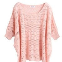 Acrylic Pink Ultra-Thin Hollow Bat Short-Sleeved Round Neck Sweater  indressme.com