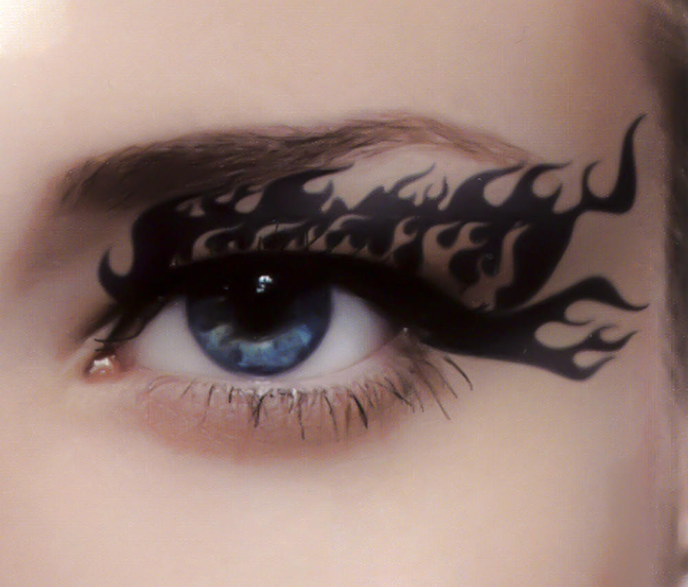 Sexy flames eye liner temporary tattoo from dysfunctional doll for Eye temporary tattoo makeup