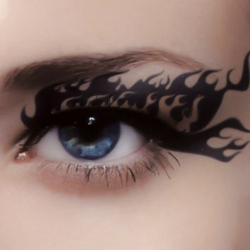 Sexy Flames Eye Liner Temporary Tattoo Set Gothic Makeup