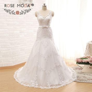Rose Moda V Neck Trumpet Wedding Dress with Bow Lace Wedding Dresses for Black Girls Custom Made