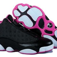 Hot Air Jordans 13 Retro Women Shoes Black Pink White