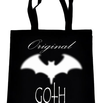 Original Goth with Bat on Black Tote Book Bag Gothic Deathrock Handbag