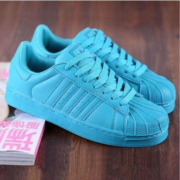 ESBONS Adidas' Fashion Shell-toe Flats Sneakers Sport Shoes Pure color cute Blue