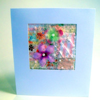 """Patchwork fabric art card Spring silk flowers and beads  3.5"""" x 4.25"""""""