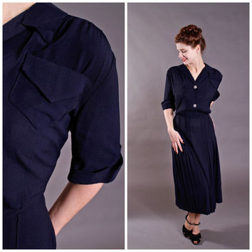 Vintage 1940s Dress - 40s Navy Rayon Day Dress with Pocket - Mail Day