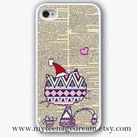 iphone 4 case, iPhone 4s Case, iphone case 4s, lovely Aztec cat Pattern Print iphone white hard case for iphone 4, iphone 4S