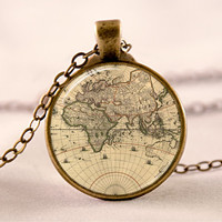 Vintage Map Necklace , World Map Pendant , Old Map Jewelry , (code 0196PB)