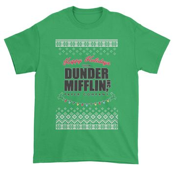 Happy Holidays from Dunder Mifflin Ugly Christmas Mens T-shirt