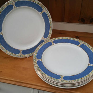 Set of 6 Booths Falcon China dinner plates /festive tableware