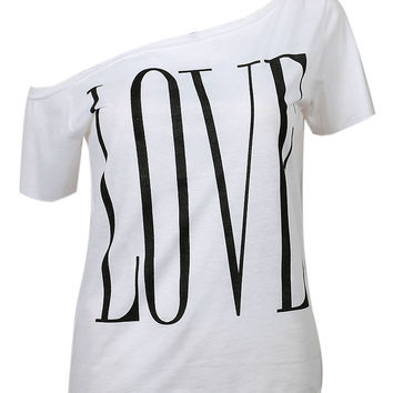 White Off Shoulder Letter Print Short Sleeve T-shirt
