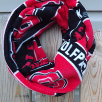 Ready to Ship NC STATE WOLFPACK Red Black White Cotton Fleece Soft Infinity Cowl Warm Winter Scarf Game Day Unisex