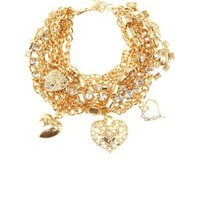 Rhinestone & Chain Charm Bracelet by Charlotte Russe - Gold