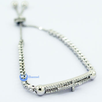 Contemporary Modern Silver Bracelet with Moving Cross Sterling Silver CZ