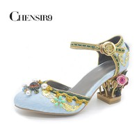 CHENSIR9 Pleuche with Luxury String Bead Buckle Strap Mary Jane shoes Flower in Med Fretwork heels Women Pumps size 33-43 MYU04C