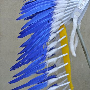 28inch turquoise Chief Indian feather Headdress Native American costume hand made War Bonnet  indian headdress feather costume