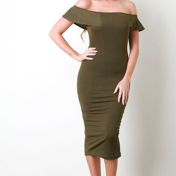 Princess Seam Bardot Midi Dress