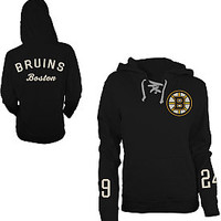Old Time Hockey Boston Bruins Women's Queensboro Lace Hooded Sweatshirt