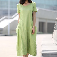 Loose-Fitting Linen Dress - Casual Everyday Mint Green Midi Length Handmade Kaftan Style Tunic Dress - Plus Sizes Available C261