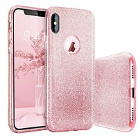 Glitter For iPhone Case X 7 7Plus 8 8Plus Luxury Silicone+PC Case Cover For iPhone X 10 7 7Plus 8 8Plus ipone Capa 3in1 Capinha