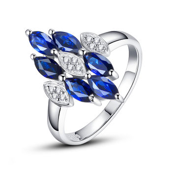 Sterling Silver 2.5 Carats Marquise Sapphire Ring