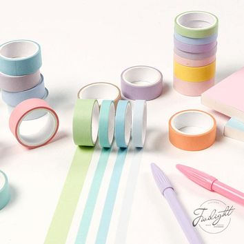 12pcs/lot Cute Rainbow Decorative Adhesive Tape Masking Washi Tape For Home Decoration Diary School Office Supplies Stationery