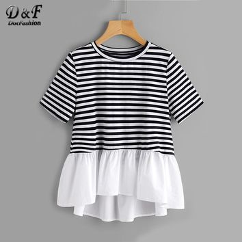 Contrast Frill Trim Striped Tee Summer Round Neck Casual T-shirt Ladies Color Block With Ruffle Cute T-shirt
